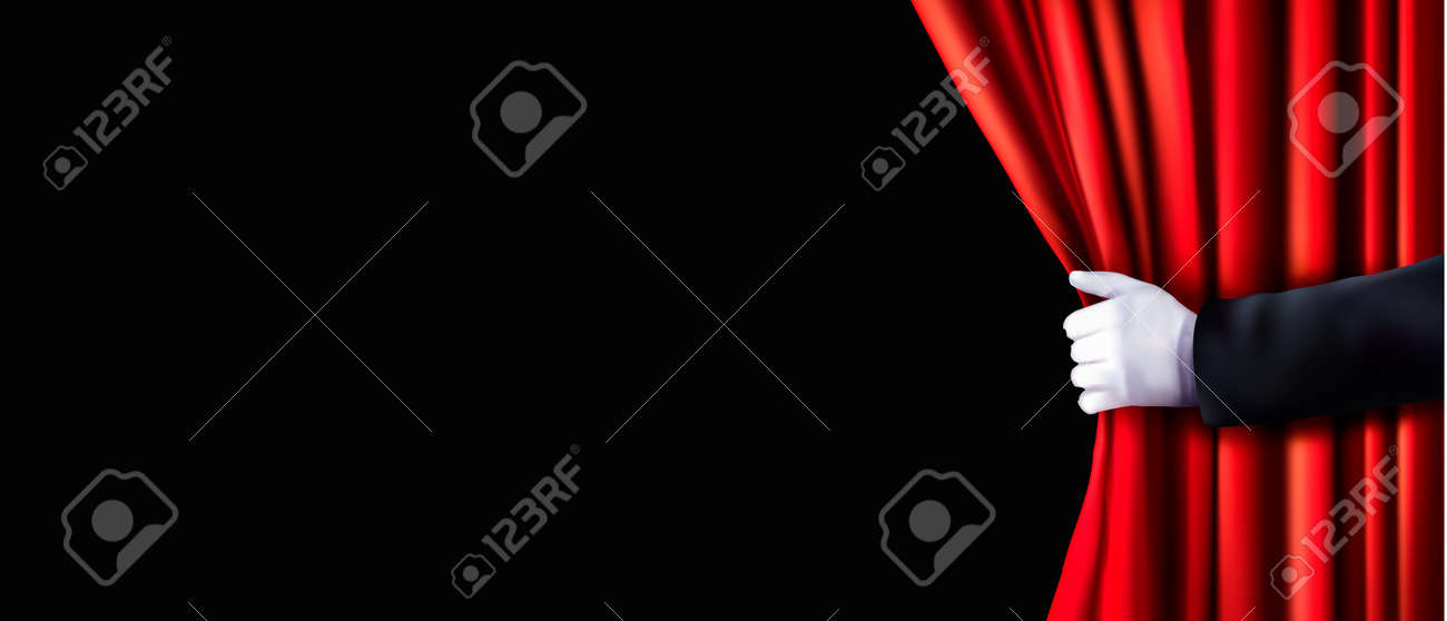 Background with red velvet curtain and hand. Vector illustration. - 41314972