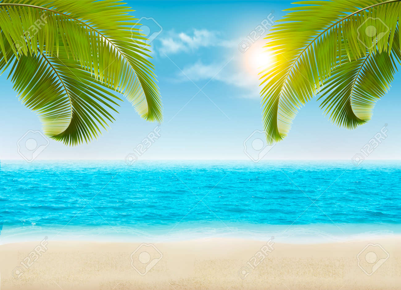 seaside with palms and a beach vector royalty free cliparts