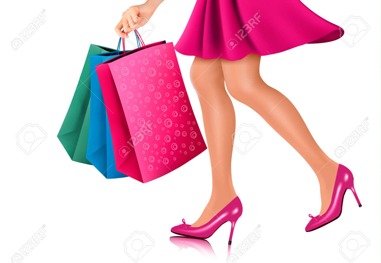 waist down view of shopping woman wearing red high heel shoes rh 123rf com Personal Shopper Clip Art Shopping Cart Vector