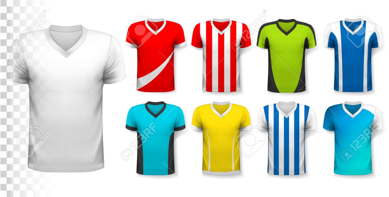 Colección De Varias Camisetas De Fútbol. La Camiseta Es Transparente ...