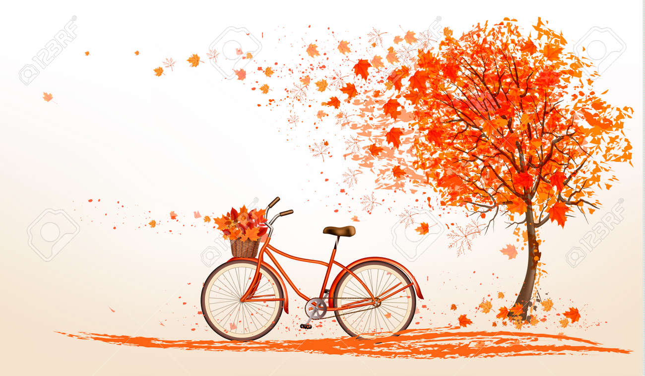 Autumn background with a tree and a bicycle. Vector. - 44993327
