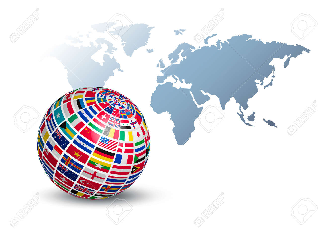 Globe made out of flags on a world map background vector royalty globe made out of flags on a world map background vector stock vector gumiabroncs Gallery