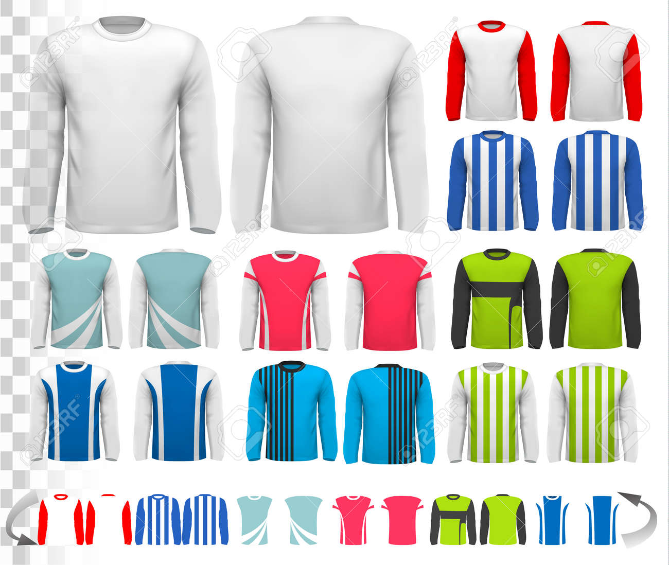 Collection Of Various Male Long Sleeved Shirts Design Template