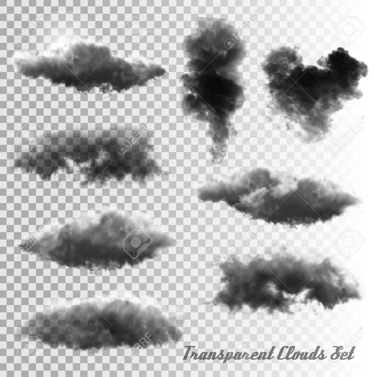 Set of transparent clouds and smoke. Vector. - 46674081