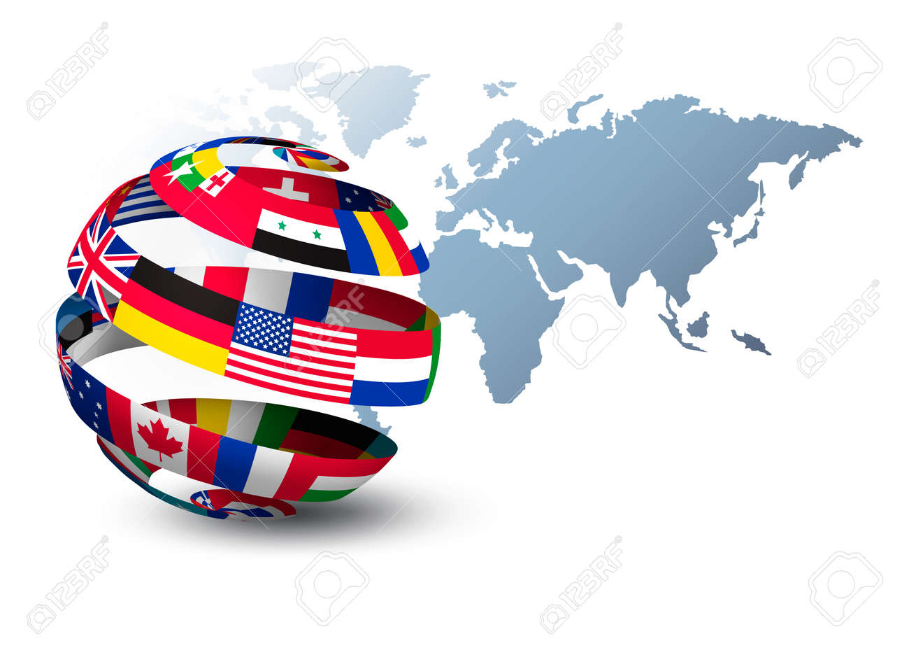 Globe made out of flags on a world map background vector royalty globe made out of flags on a world map background vector stock vector gumiabroncs Images