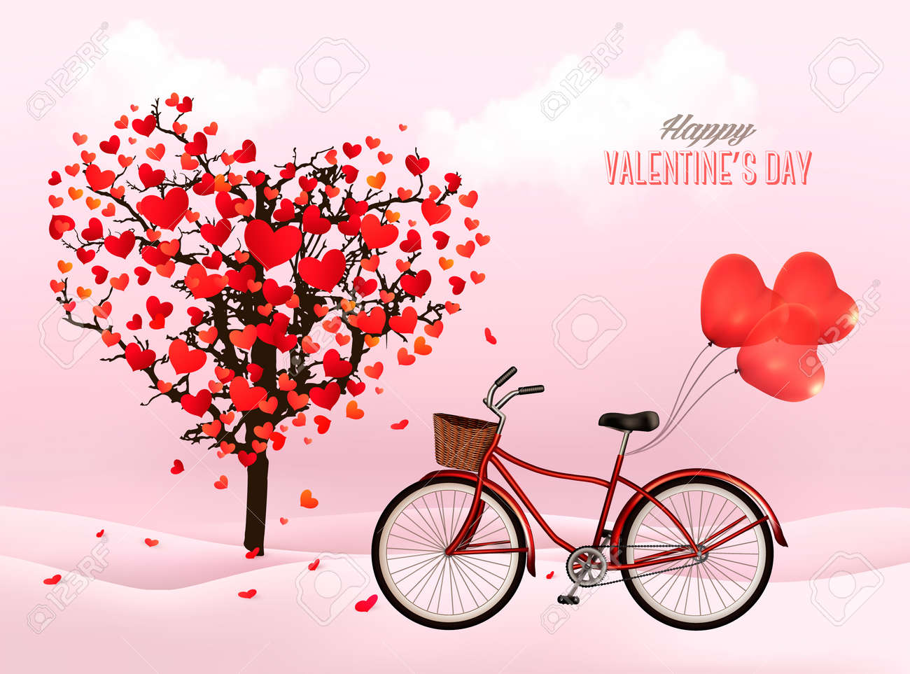Valentine S Day Background With A Heart Shaped Tree And A Bicycle