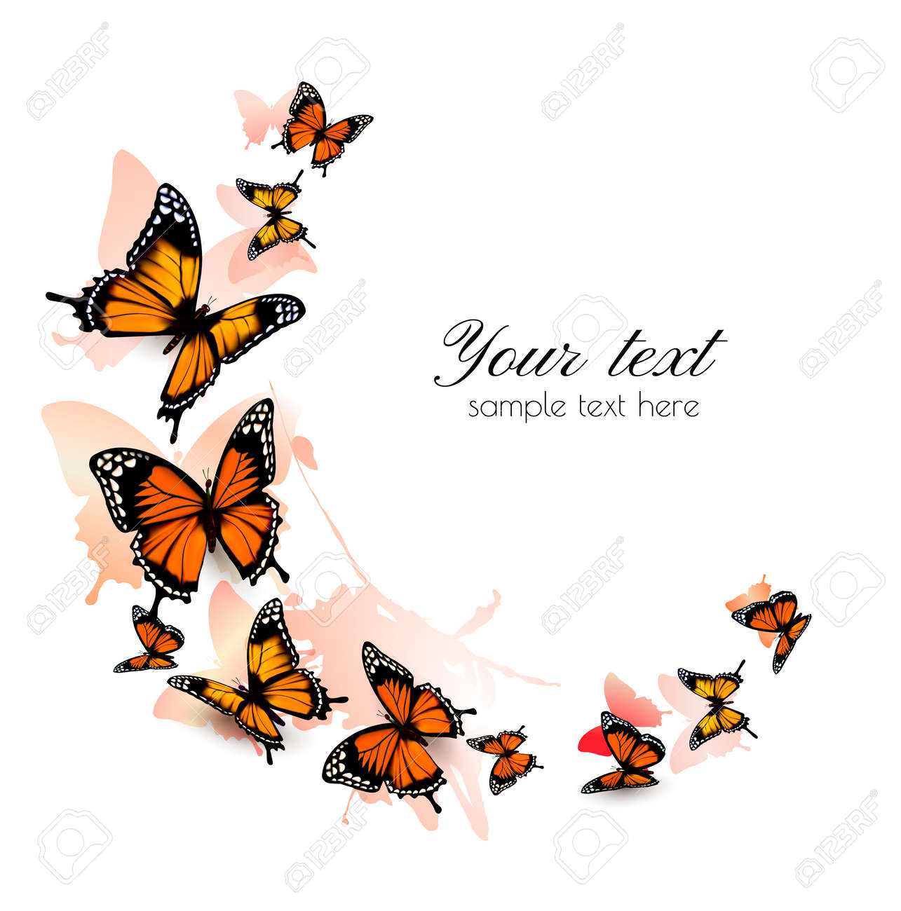 Beautiful butterfly background. Vector. - 51833013