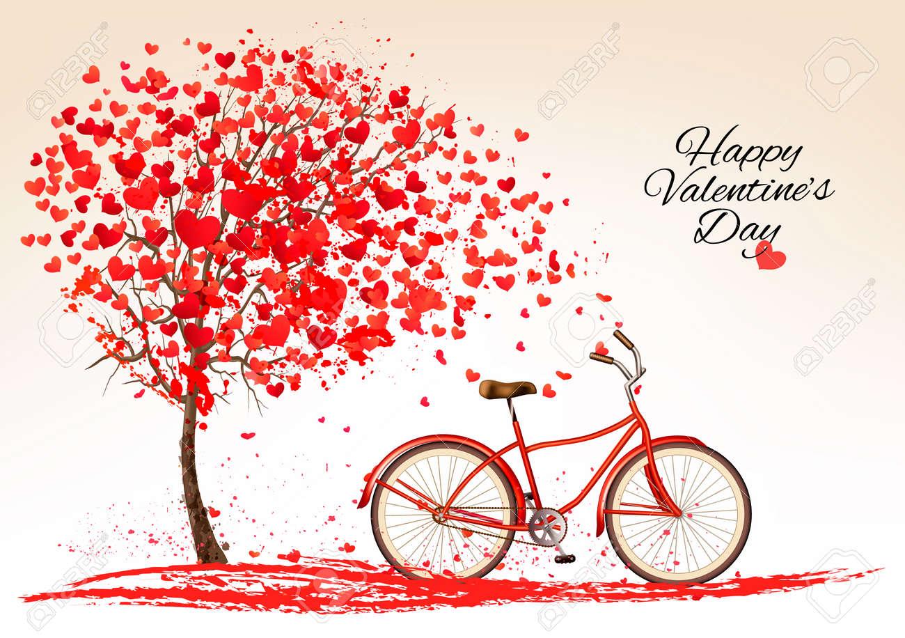 6cc30b4ead2dc Fondo del día de San Valentín con una bicicleta y un árbol hecho de corazón.