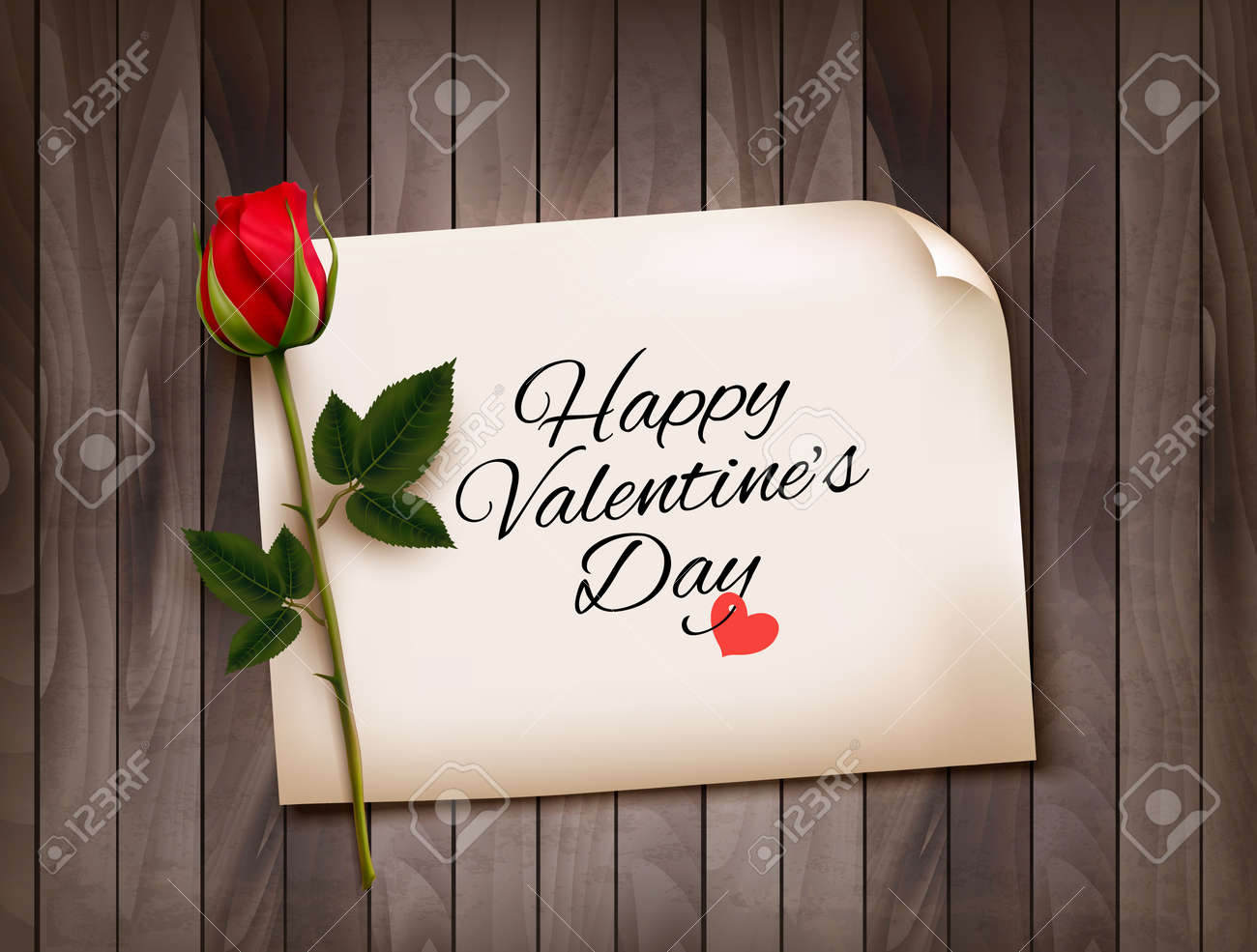 Happy Valentine's Day background with a note on a wooden wall and a red rose. Vector. - 51833318