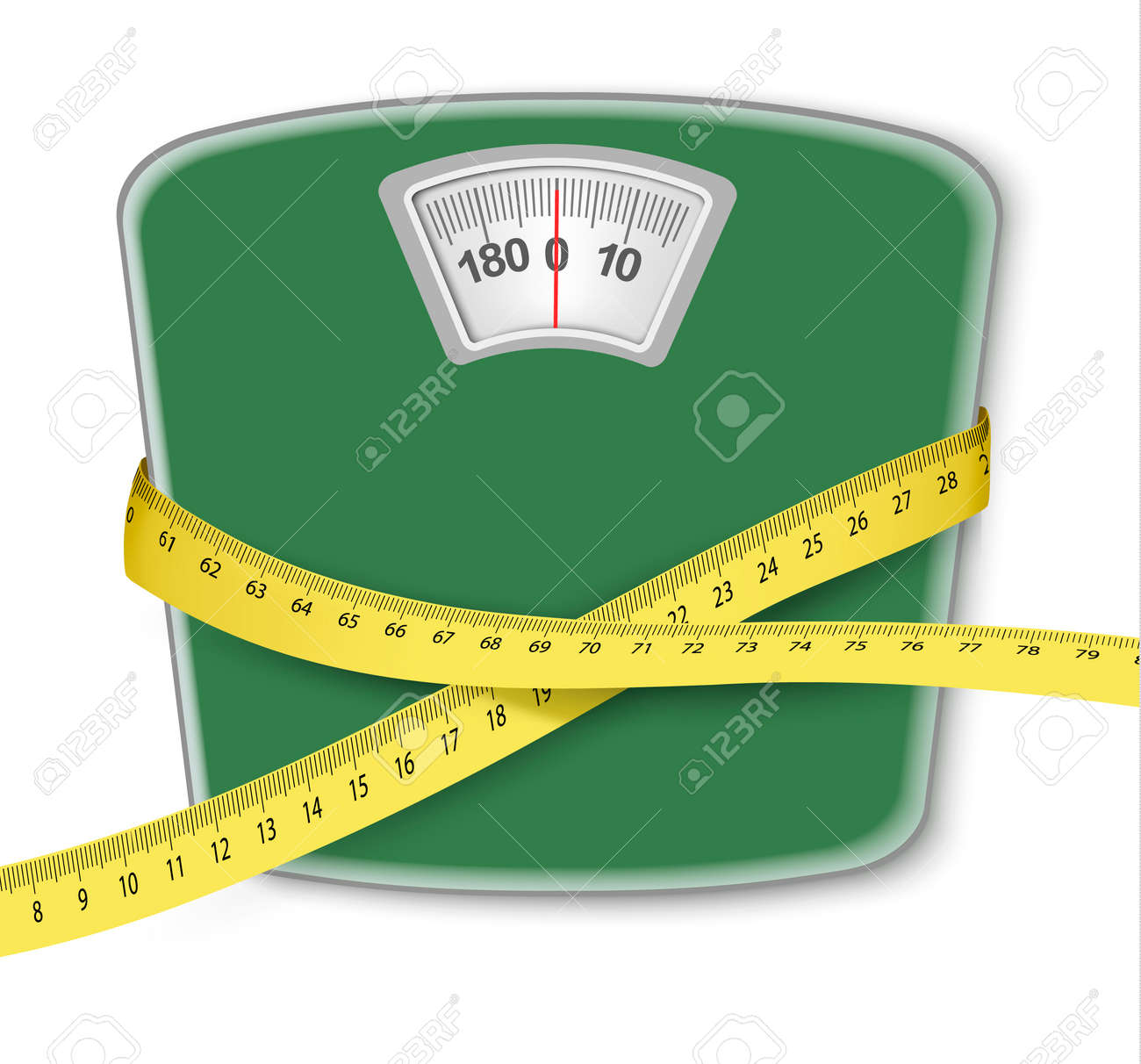 Weight scale with a measuring tape. Concept of diet. Vector. - 52440268