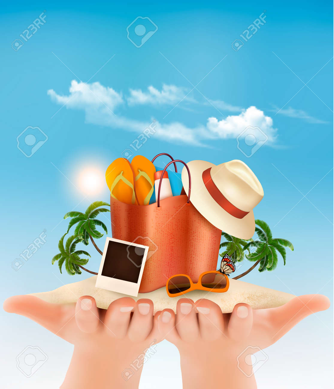 Vacation concept. Beach with a palm tree, a photograph and a beach bag in hands. - 54421609