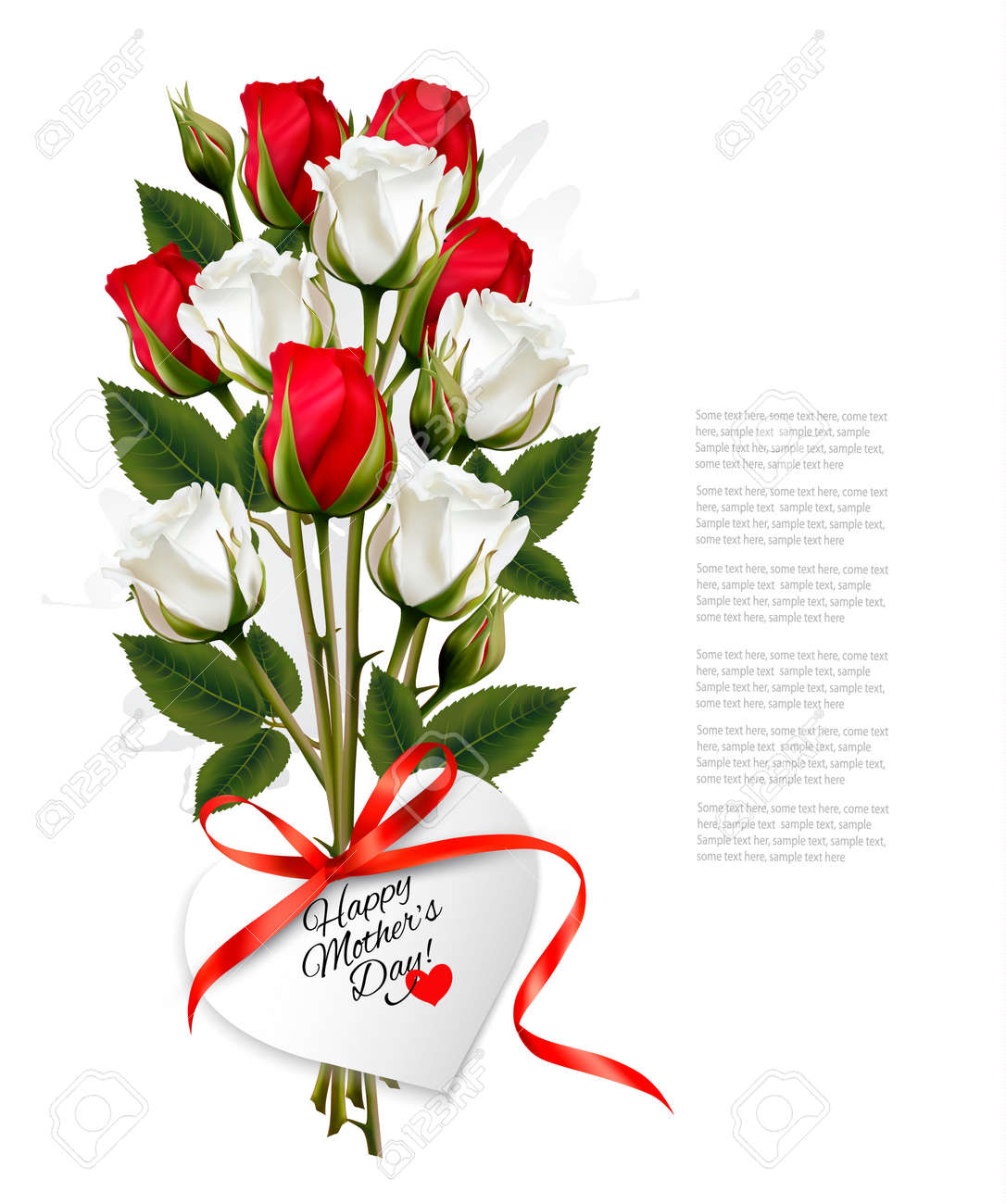 Bouquet of roses with a heart-shaped Happy Mother's Day note and red ribbon. - 55998897