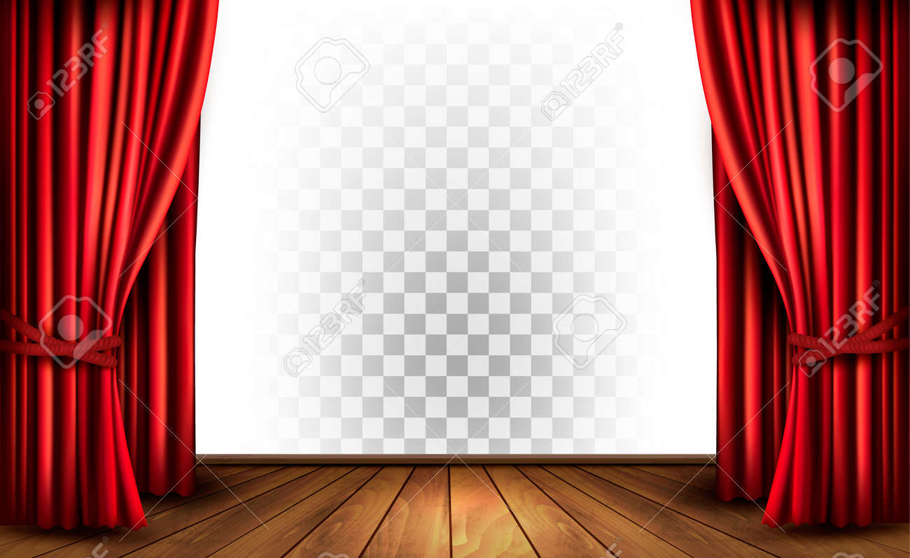 photo vector with drapes transparent theater curtains a background stock