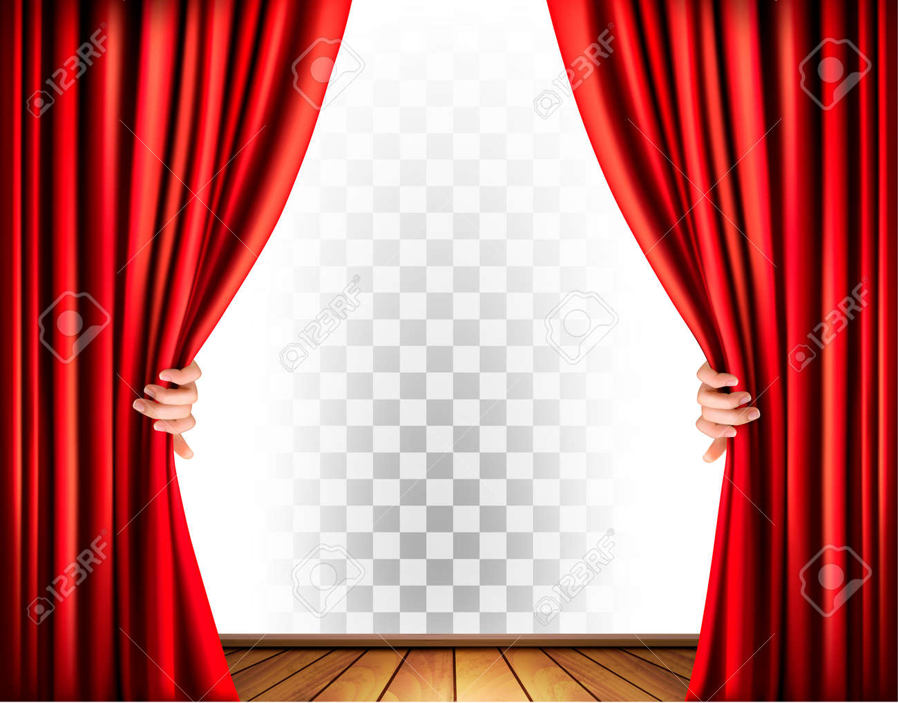 Theater curtains with a transparent background. Vector. - 57231219