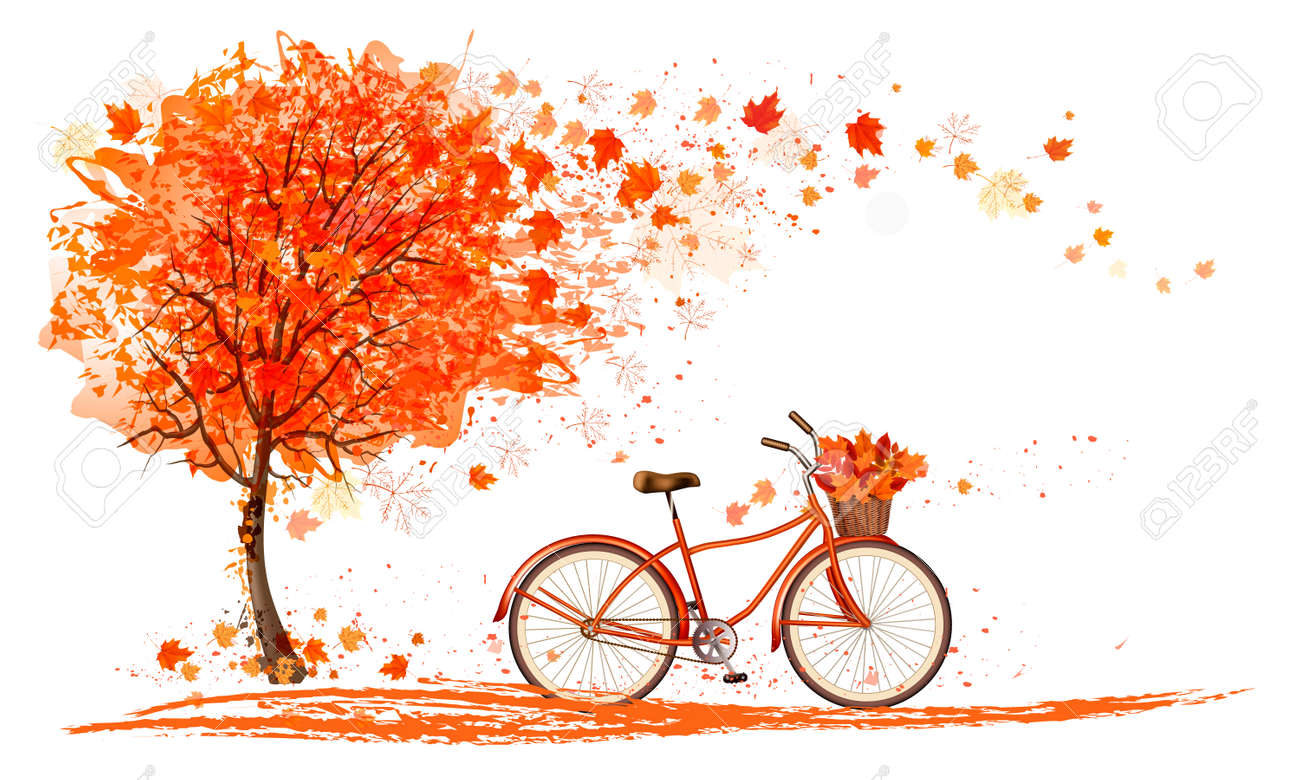 Autumn background with a tree and a bicycle. Vector - 60692200