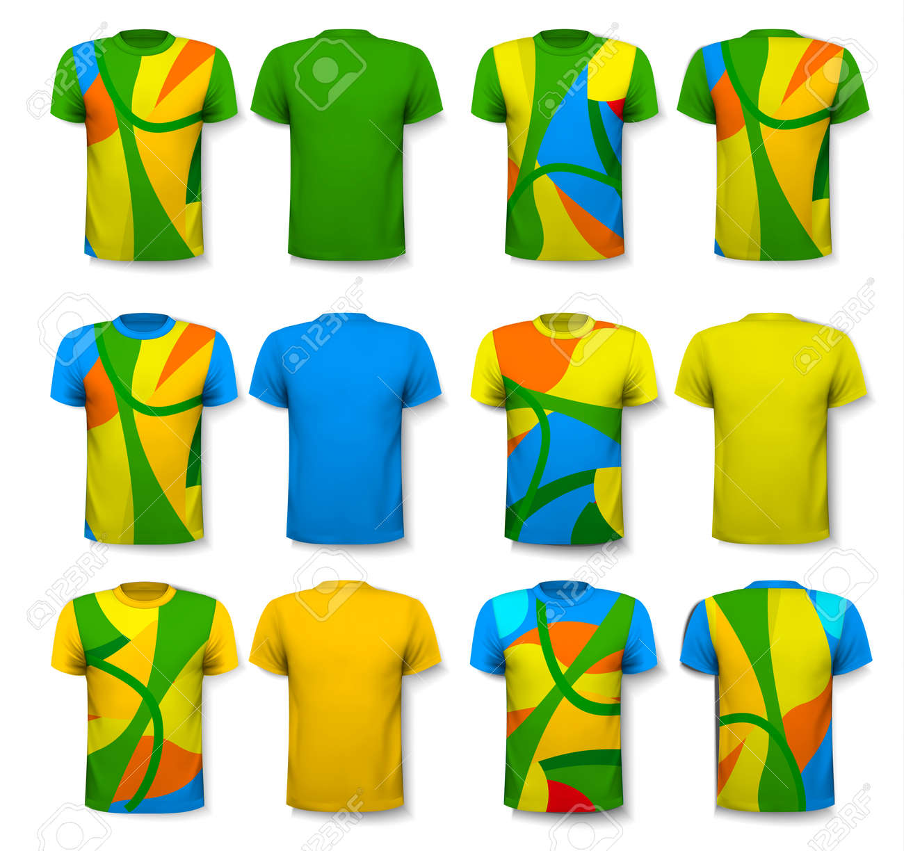 cca9a9b1 Colorful abstract male t-shirts. Design template. Vector. Stock Vector -  60692223
