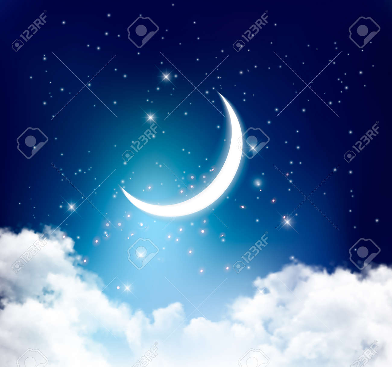 Night sky background with with crescent moon, clouds and stars. Vector - 61544144