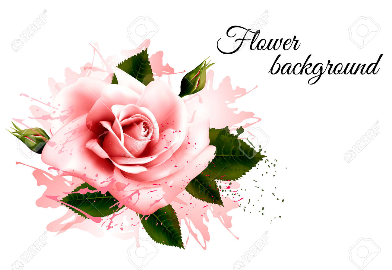 Beautiful flower background with a pink rose vector royalty free beautiful flower background with a pink rose vector stock vector 61544178 izmirmasajfo