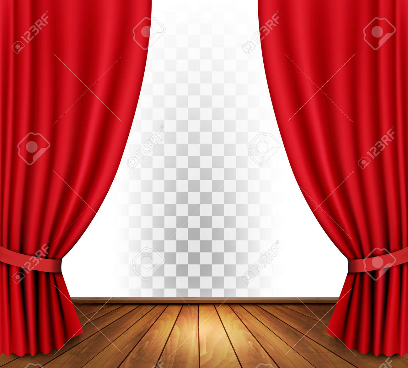 Theater curtains with a transparent background. Vector. - 62083985