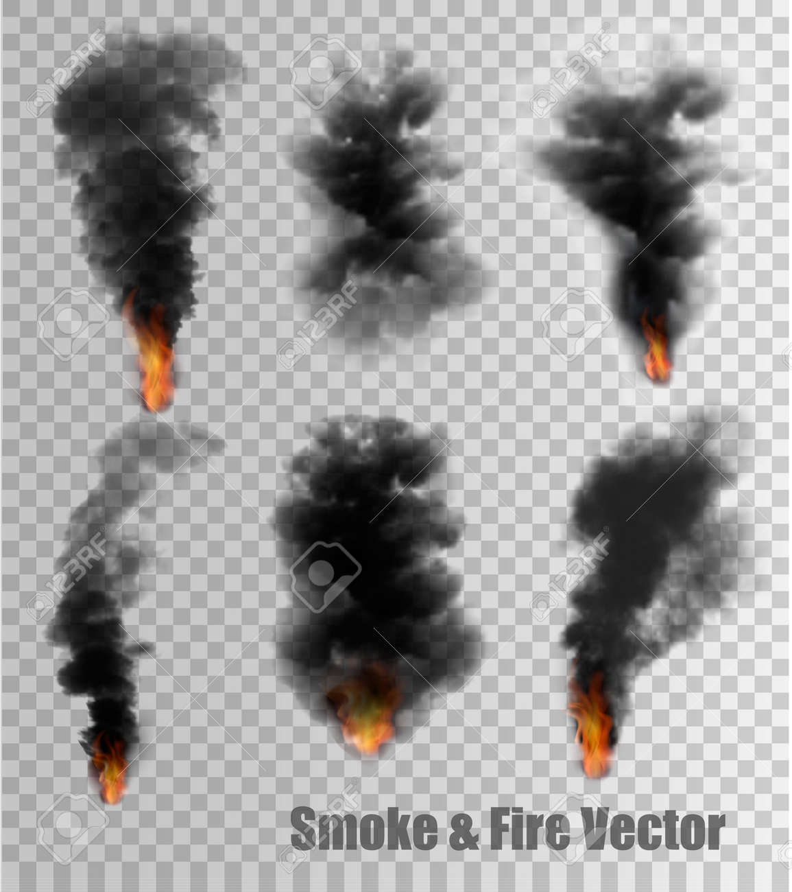 Black Smoke And Fire Vectors On Transparent Background Vector Royalty Free Cliparts Vectors And Stock Illustration Image 64437000