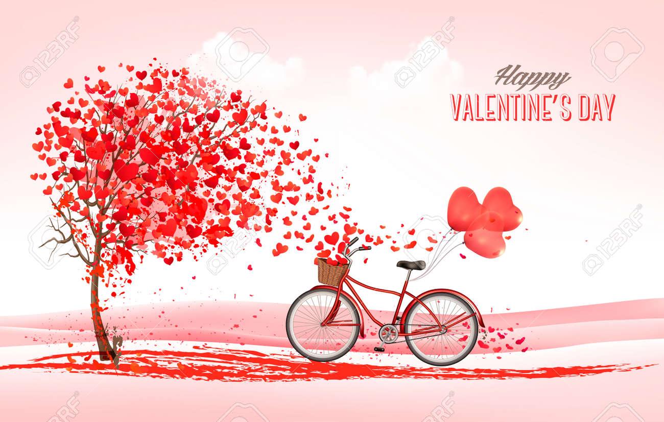 d4ade1527c590 Fondo de vacaciones de San Valentín con árbol en forma de corazón y  bicicleta con globos