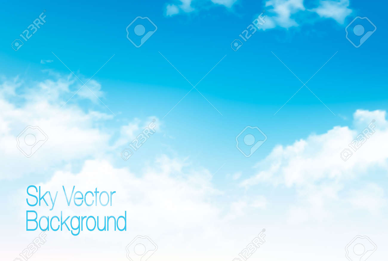 Vector blue sky panorama with transparent clouds. Vector background. - 73235934
