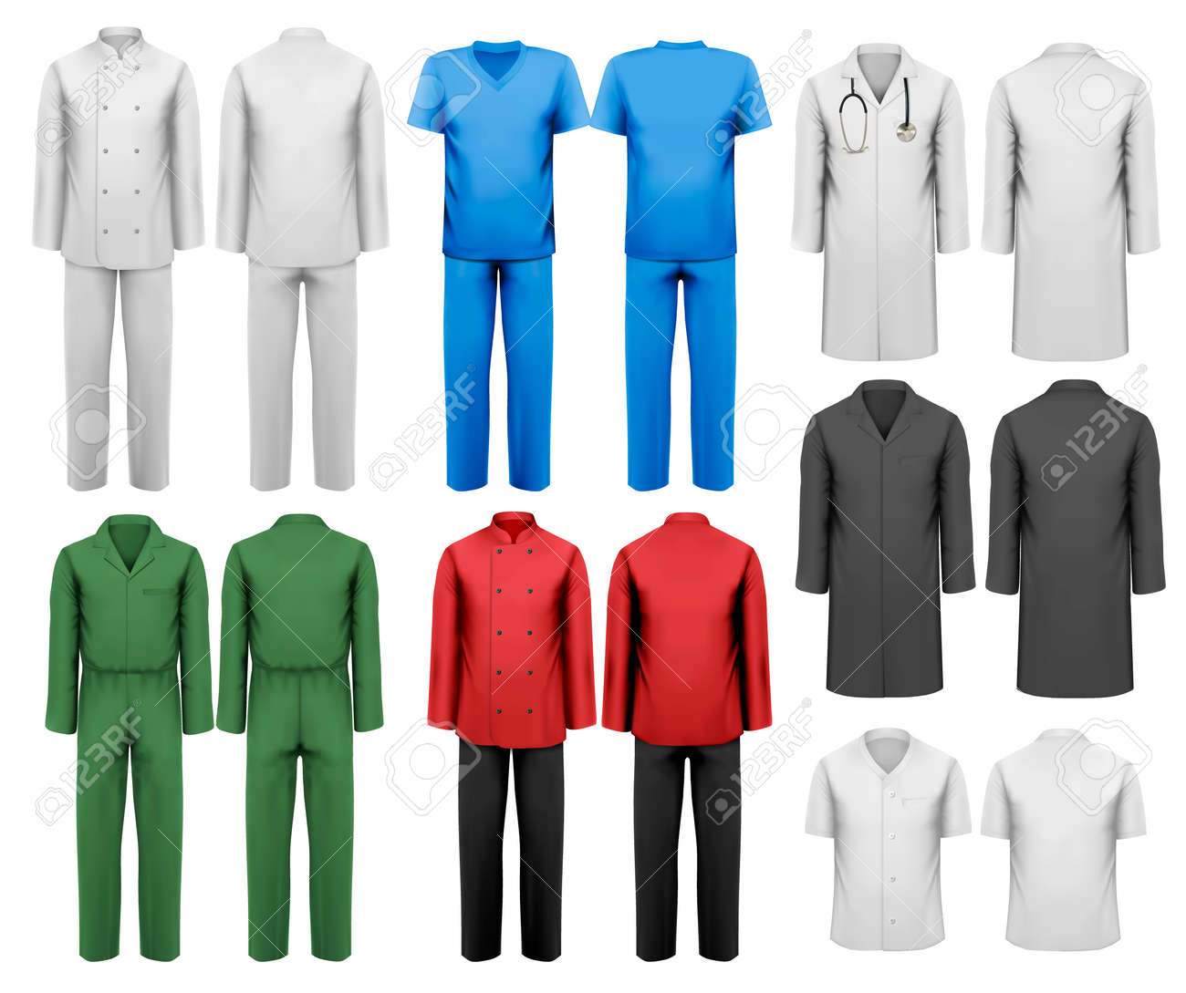 Set Of White And Colorful Work Clothes Design Template Vector Illustration Stock