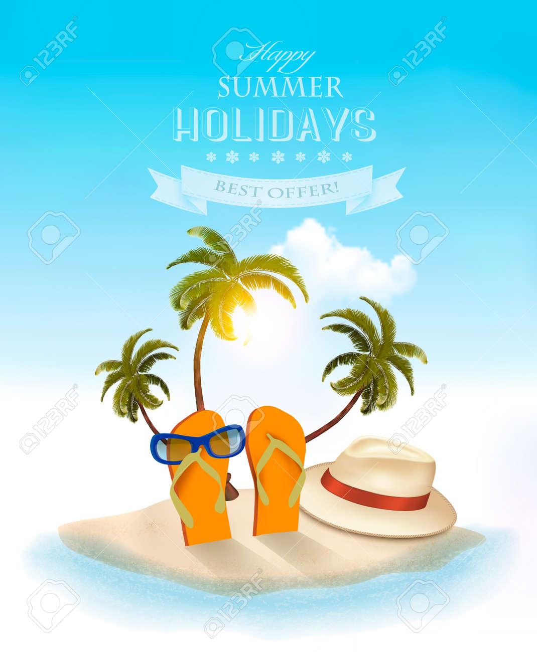 Summer holidays background. Vacation memories. Vector. - 78147729