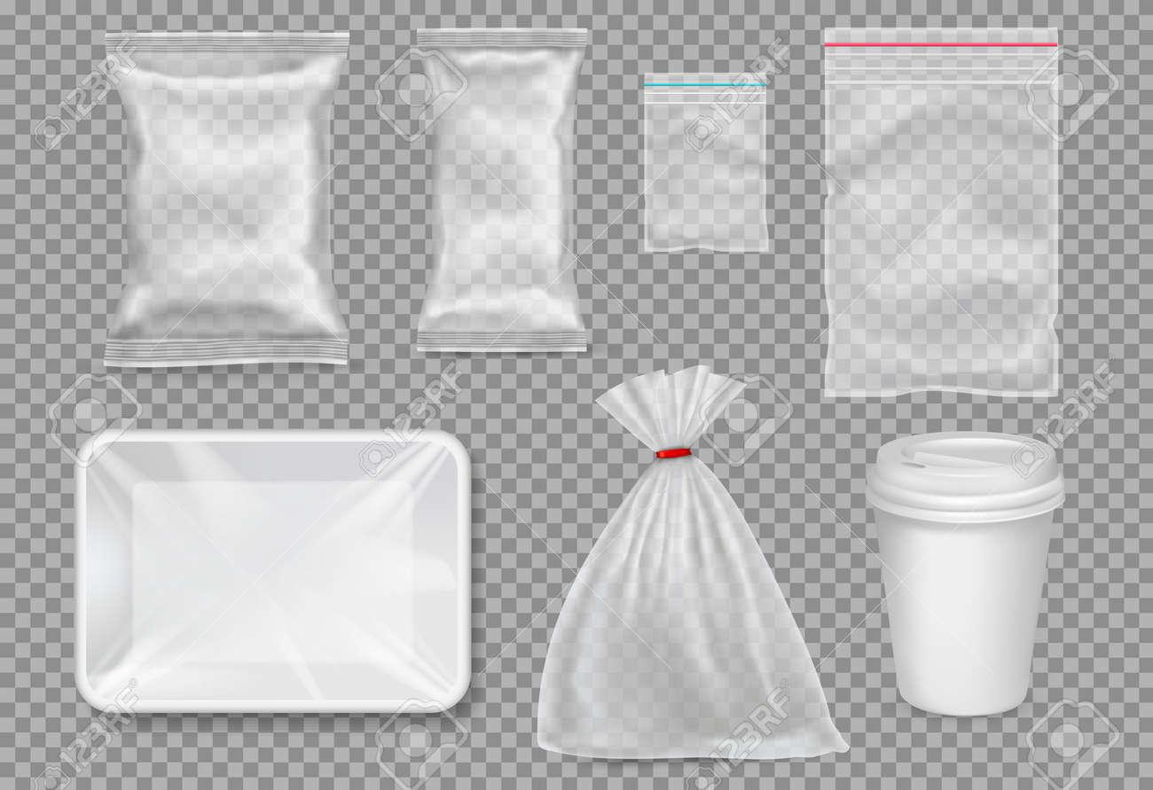 Big set of plastic packaging - sacks, tray, cup. Vector. - 78768543