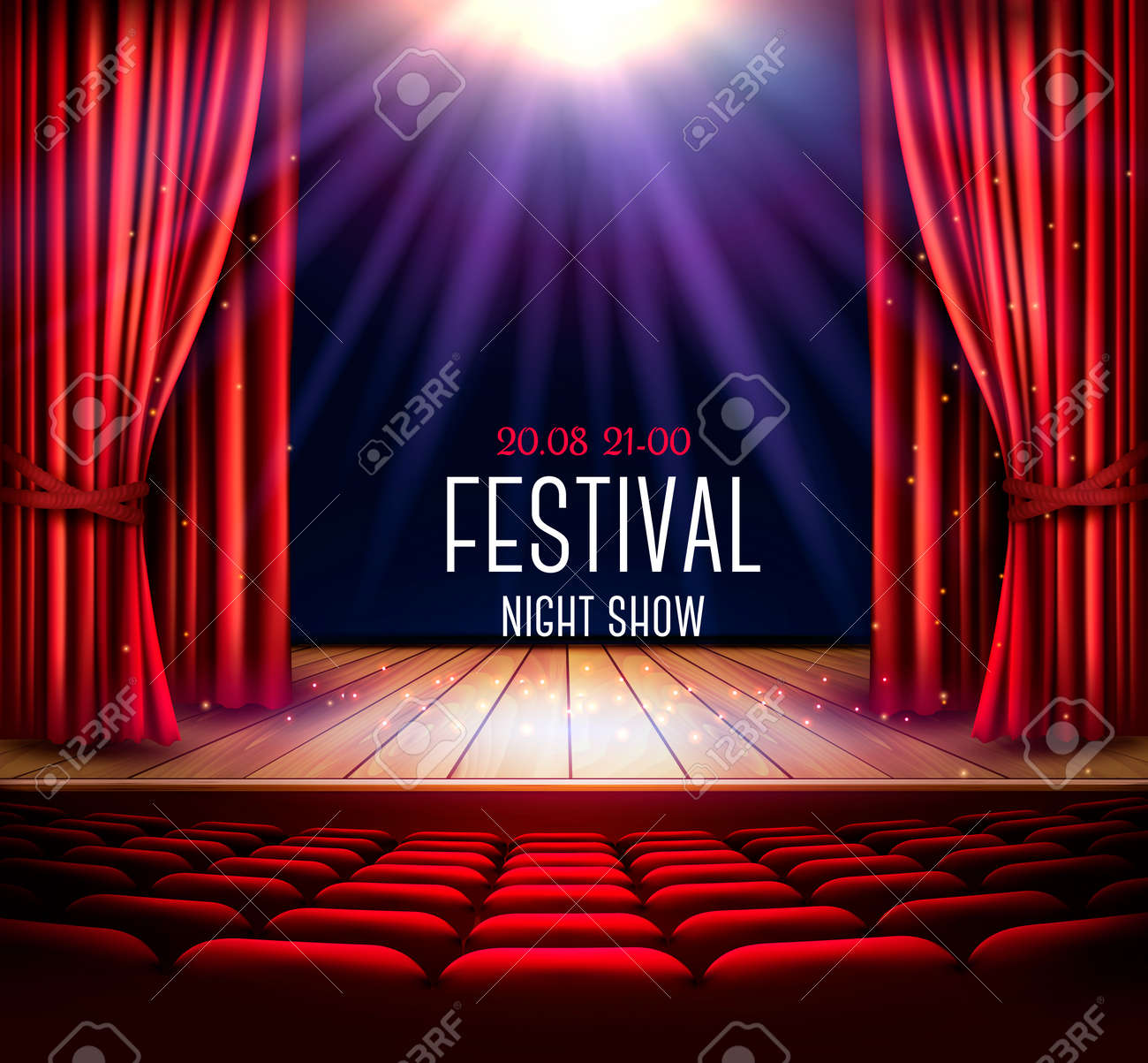 A Theater Stage With A Red Curtain And A Spotlight. Festival ...