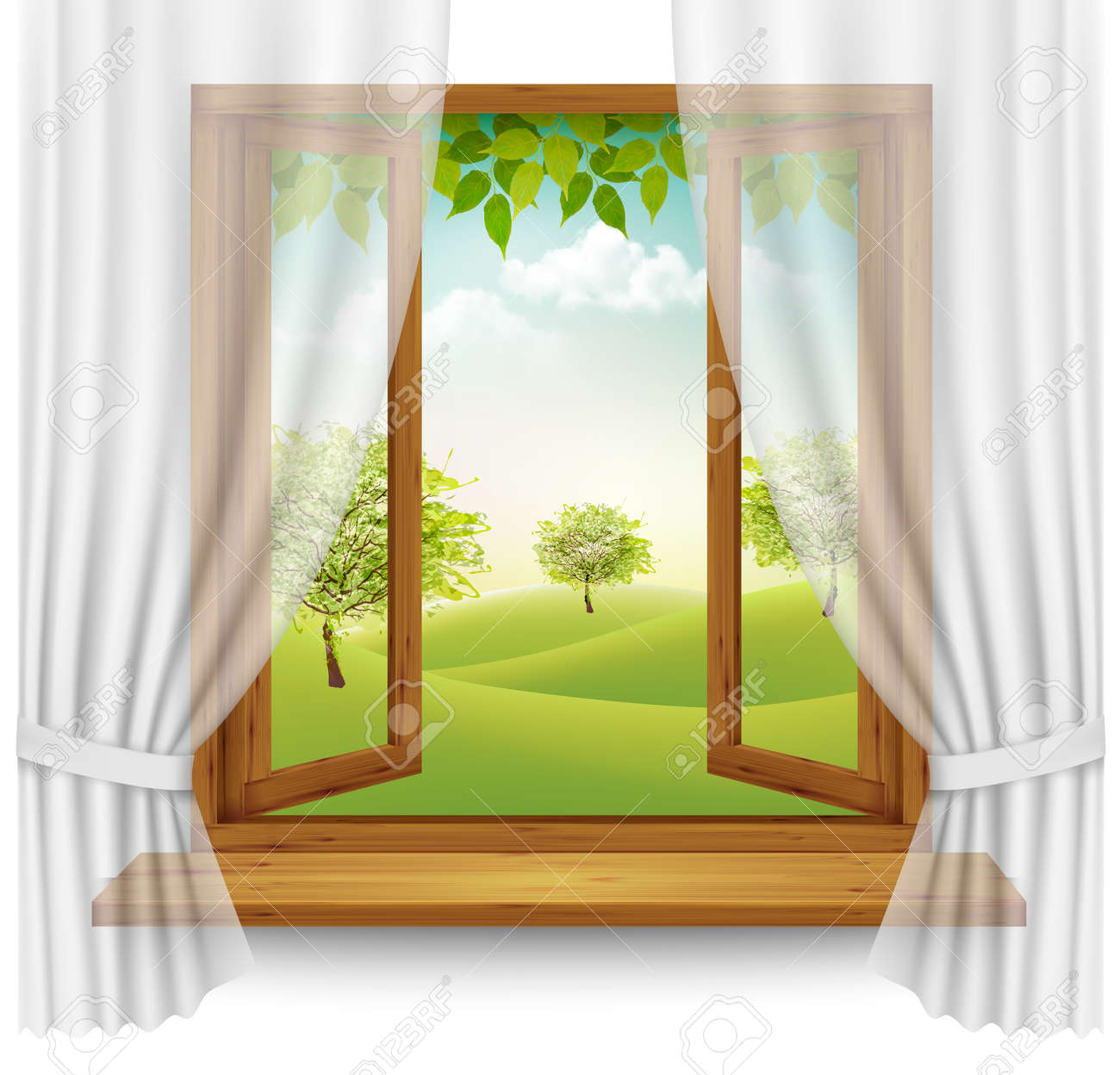 Nature Summer Background With Wooden Window Frame Curtains Vector Stock
