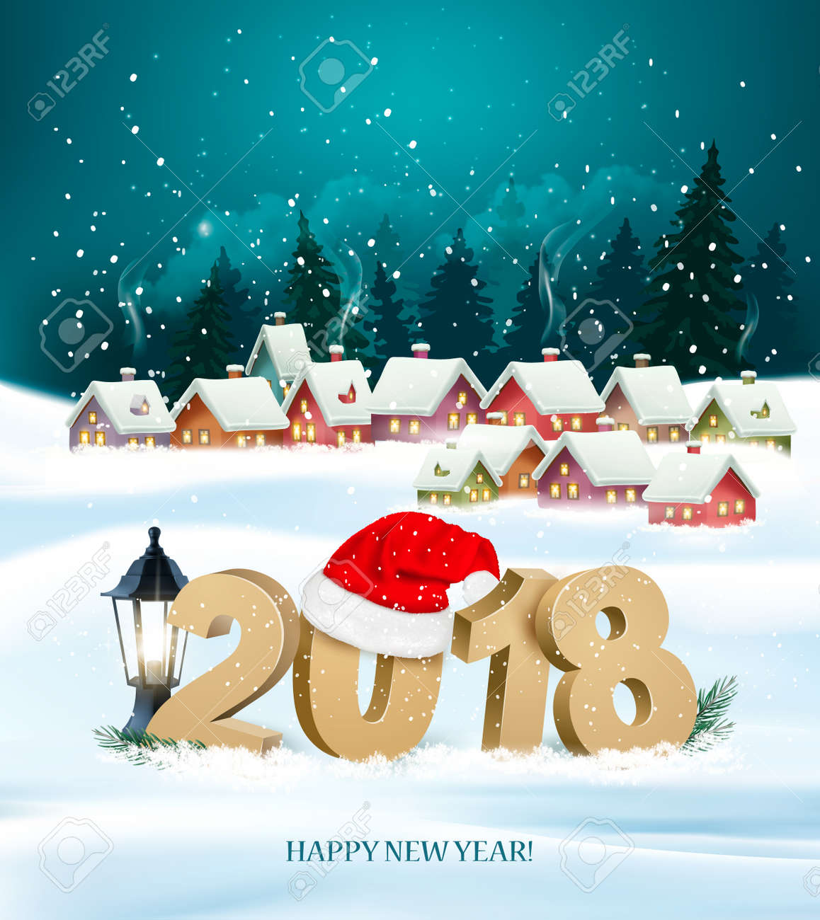 happy new year 2018 background with presents and santa claus vector stock vector