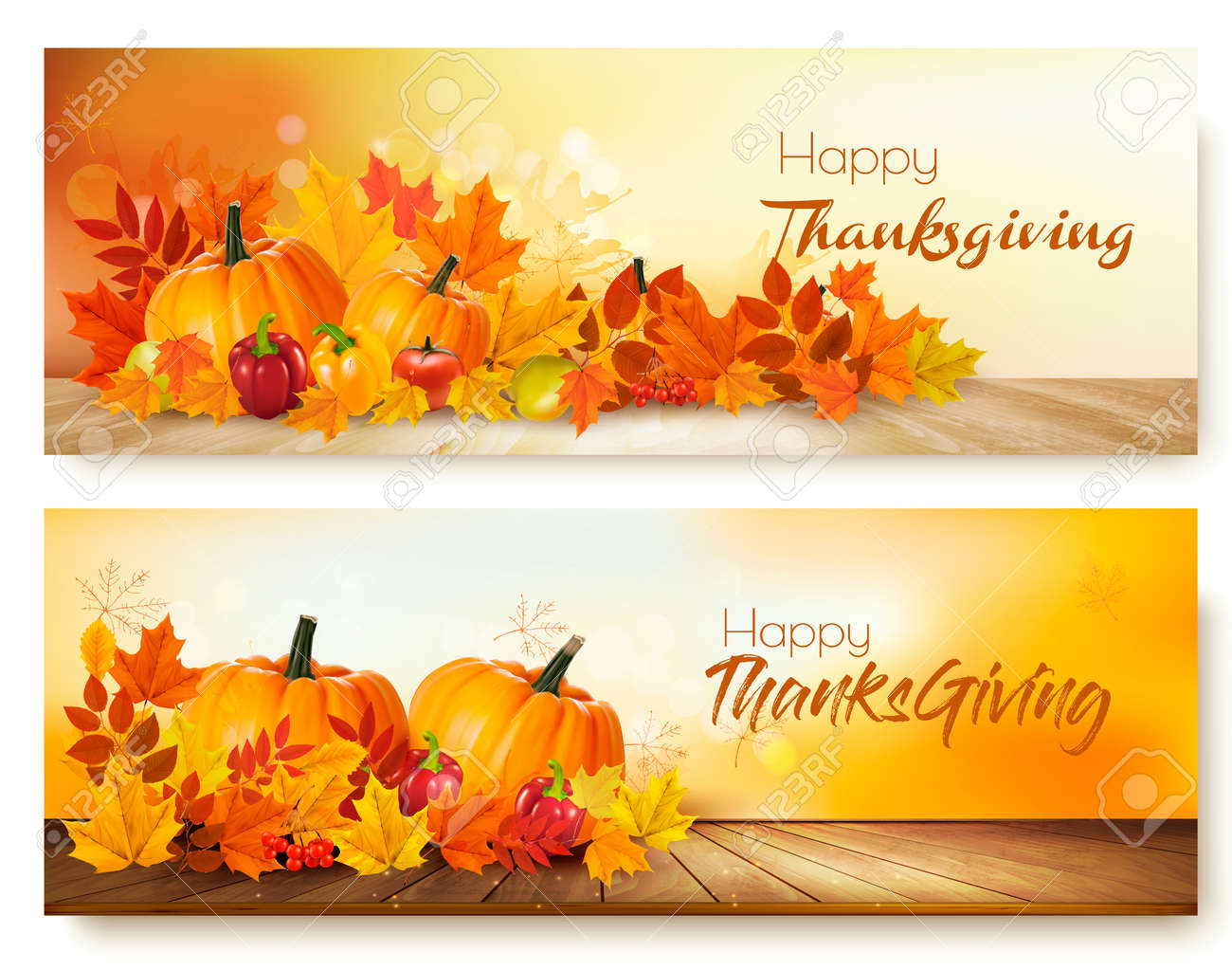 Happy Thanksgiving banners with autumn vegetables and colorful leaves. - 90304813