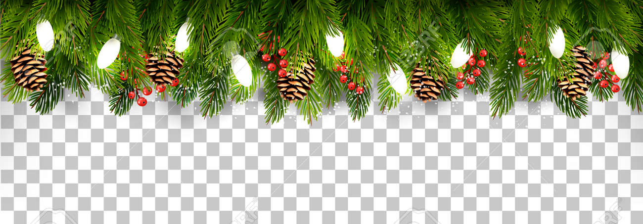 Christmas Holiday Decoration With Branches Of Tree And Pine And