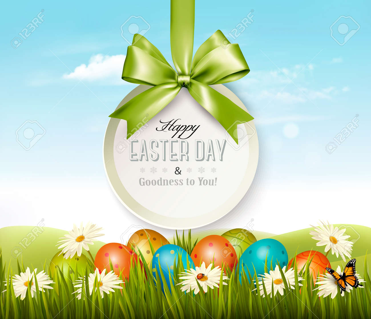 Spring Easter Background With Eggs In Grass With Flowers Design