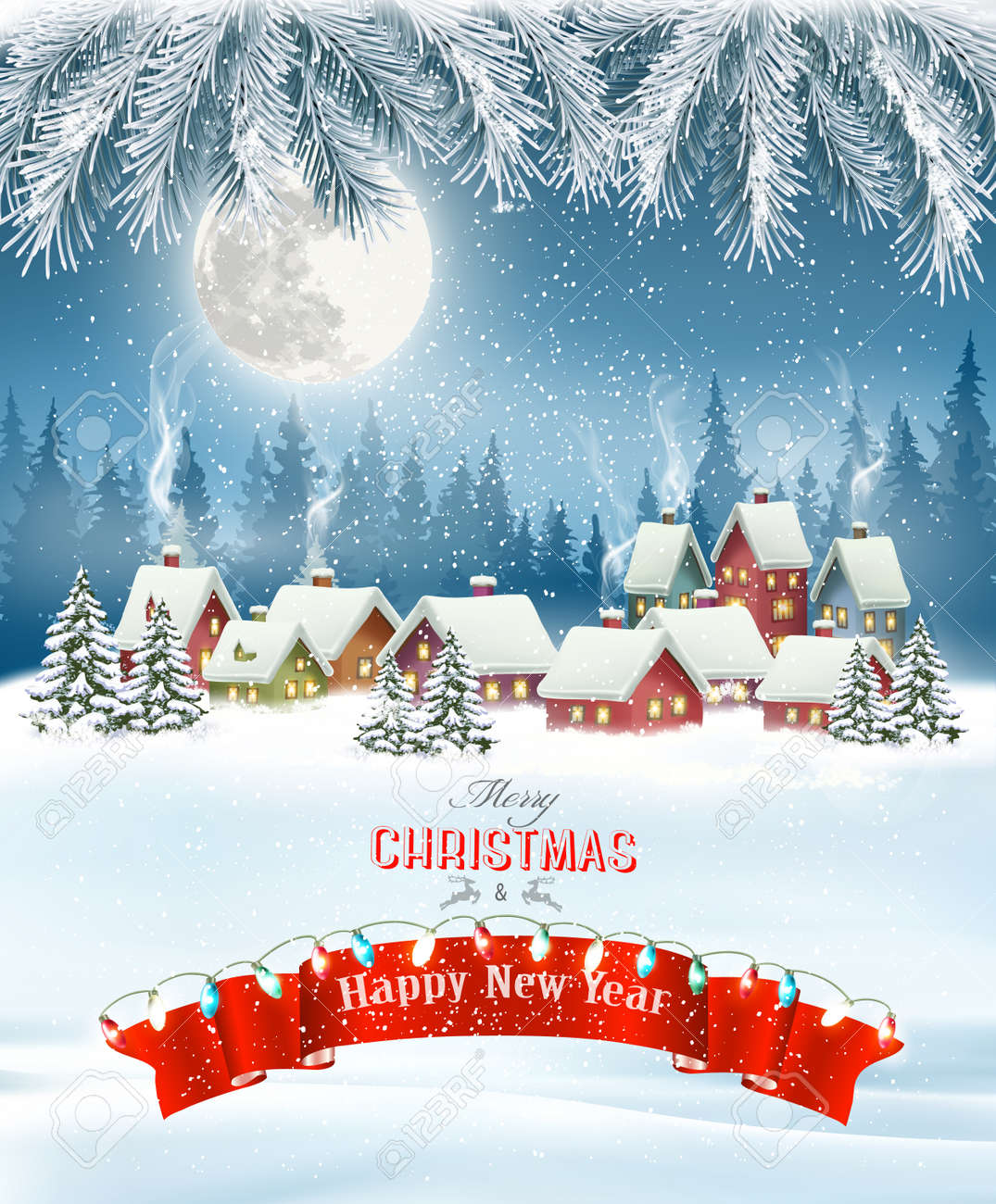 Merry Christmas Background with branches of tree and winter village.Vector - 131494972