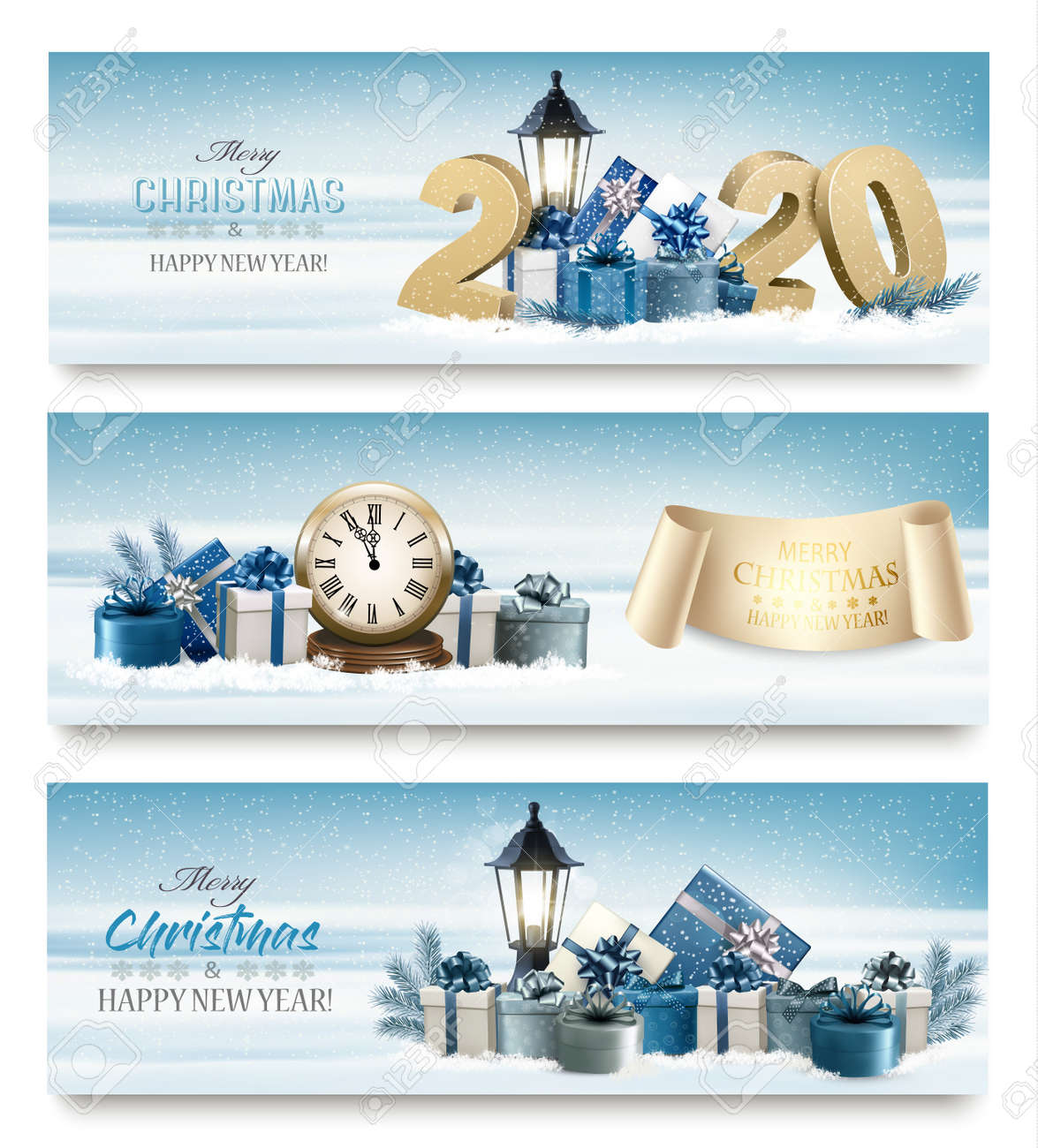 Merry Christmas banners with branches of tree, clock and presents. - 133539649