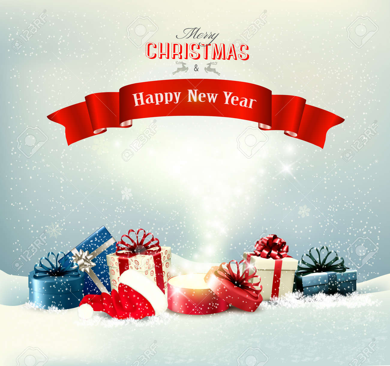Holiday Christmas background with a presents and a magic box. Vector - 134685443