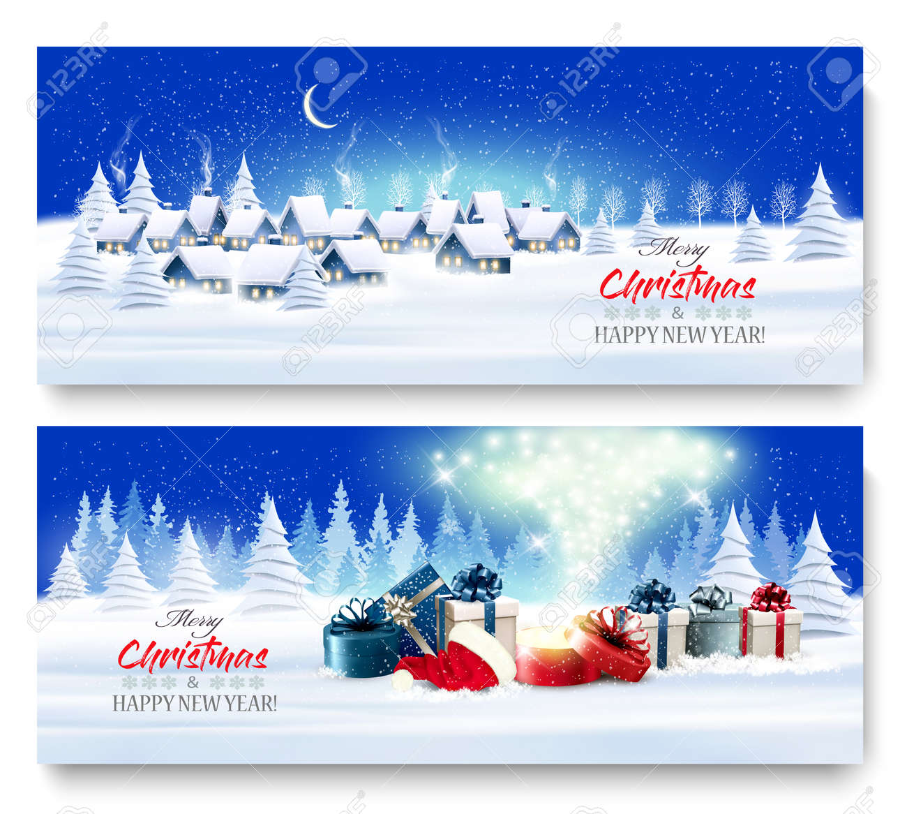 Holiday Christmas and New Year Banners with a Village Landscape and presents with magic box. Vector. - 158478315
