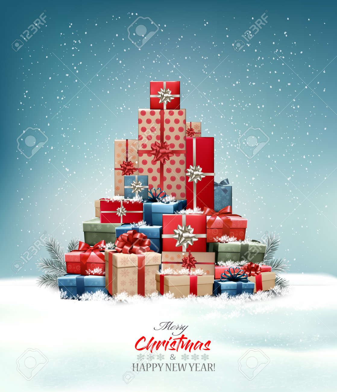 Retro holiday christmas background with christmas tree made out of colorful gift boxes and presents. Vector illustration - 159990787