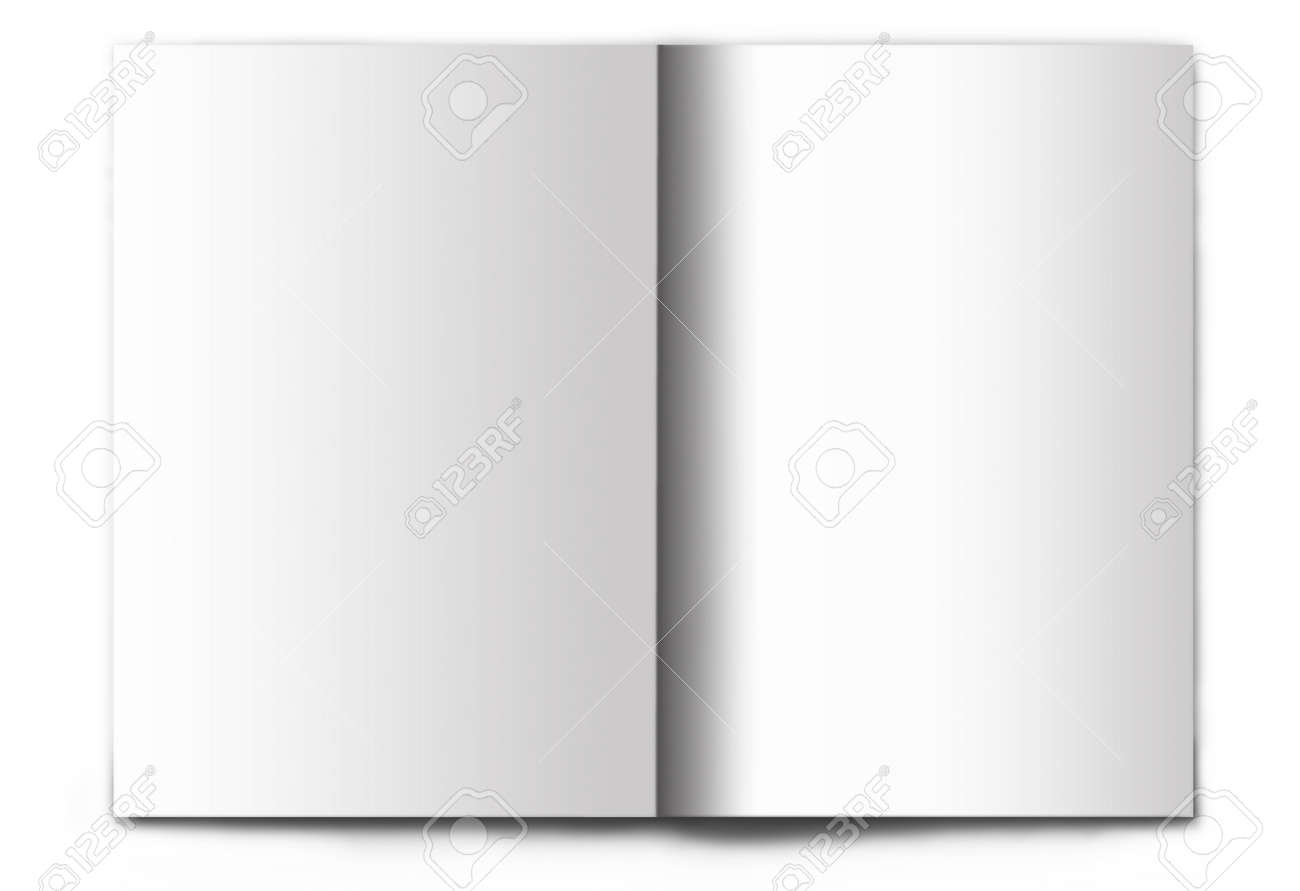 Blank / empty magazine spread isolated on white background. It's easy to add your design to these pages. - 9413542