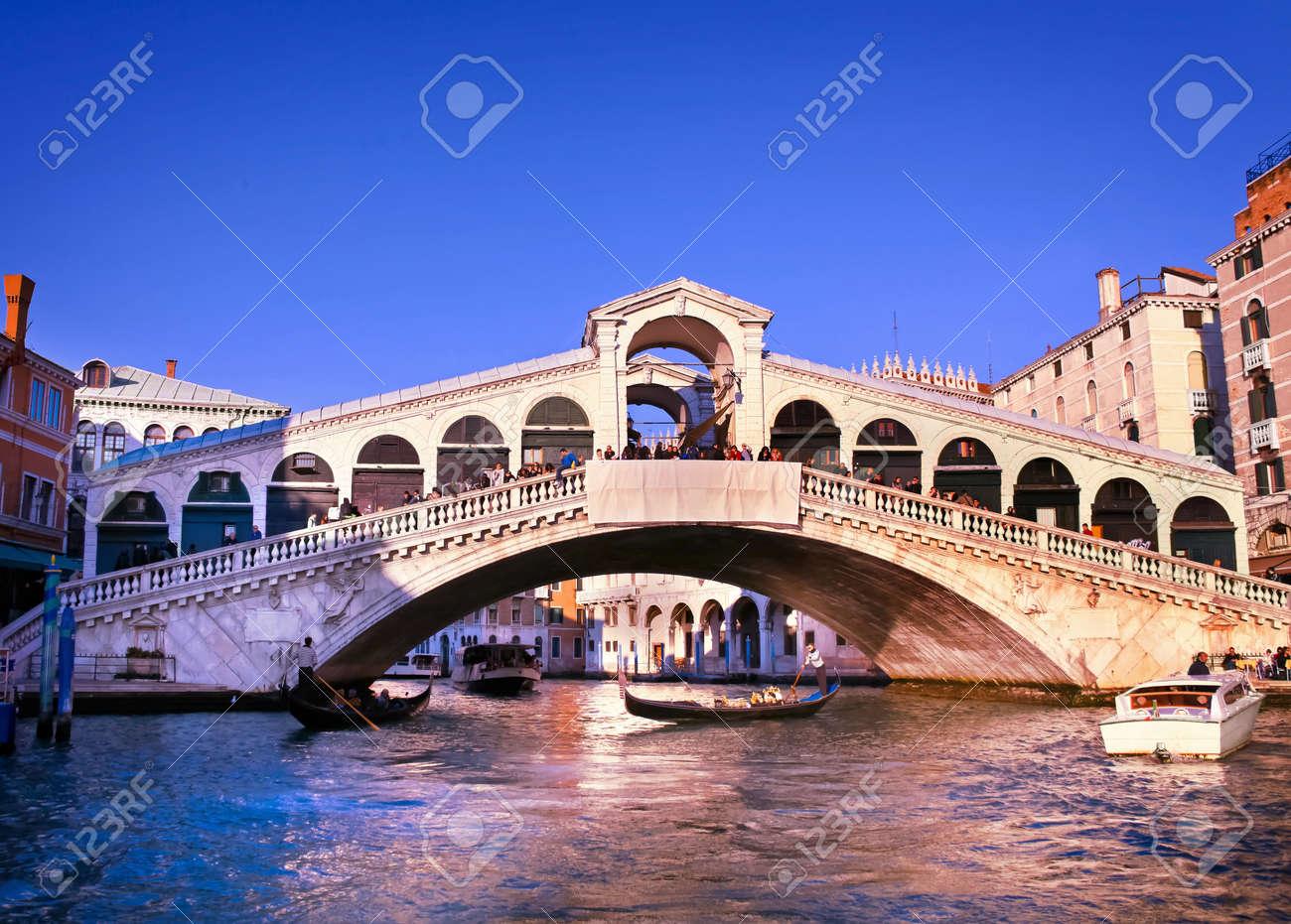 Colorful Rialto Bridge at Grand Canal, Venice, Italy. - 12903794