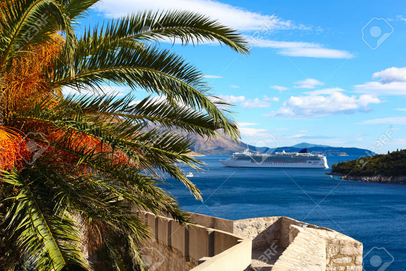 Defense wall of Old town of Dubrovnik in Croatia with beautiful palm and Adriatic sea with cruise ship - 17834314
