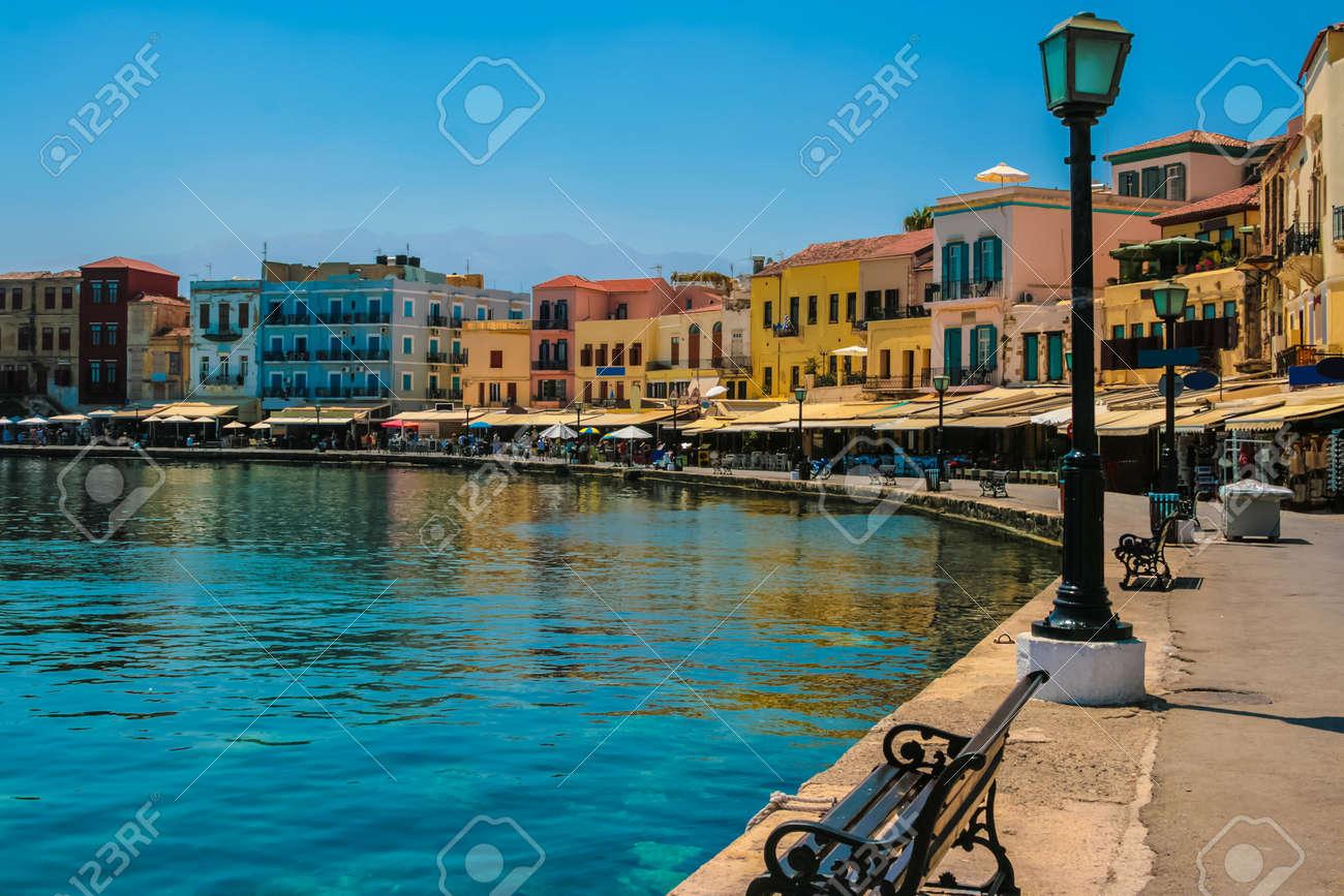 Beautiful cityscape and promenade in city of Chania on island of Crete, Greece - 19740675