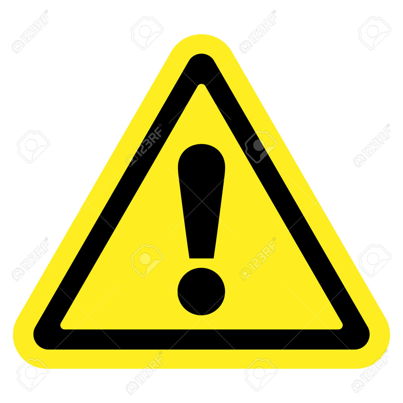 Hazard Warning Attention Sign Icon In A Yellow Triangle With
