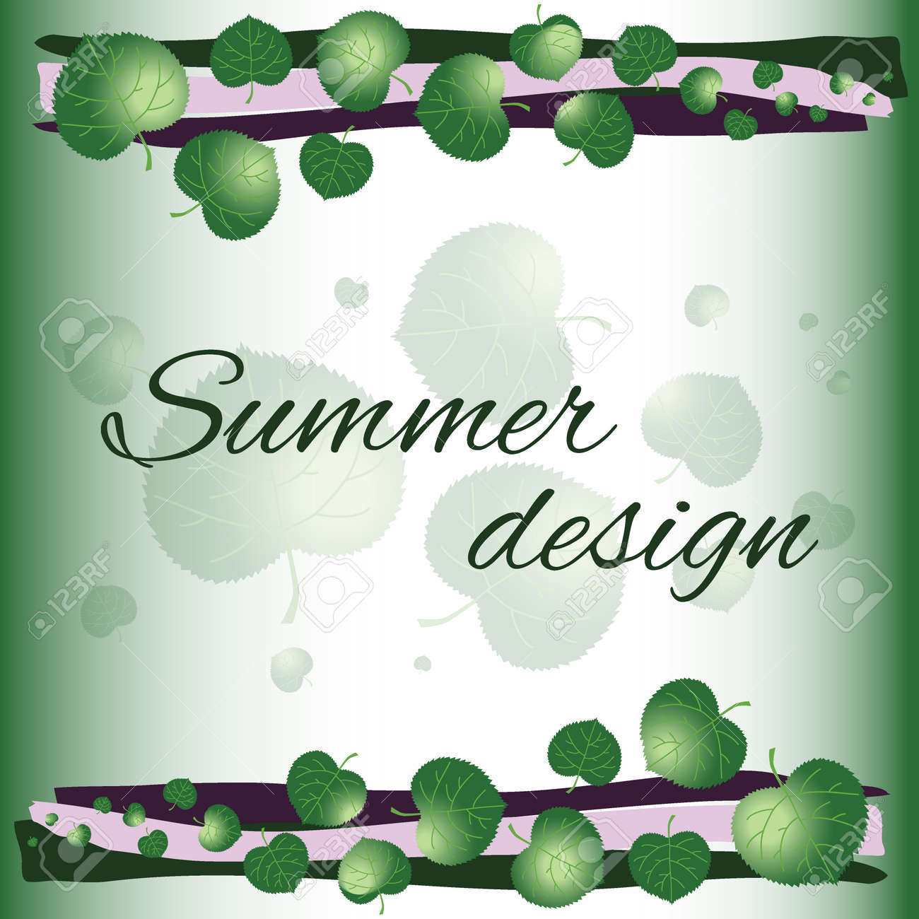 Summer Card Light Green Greeting Cards Background With Decorative