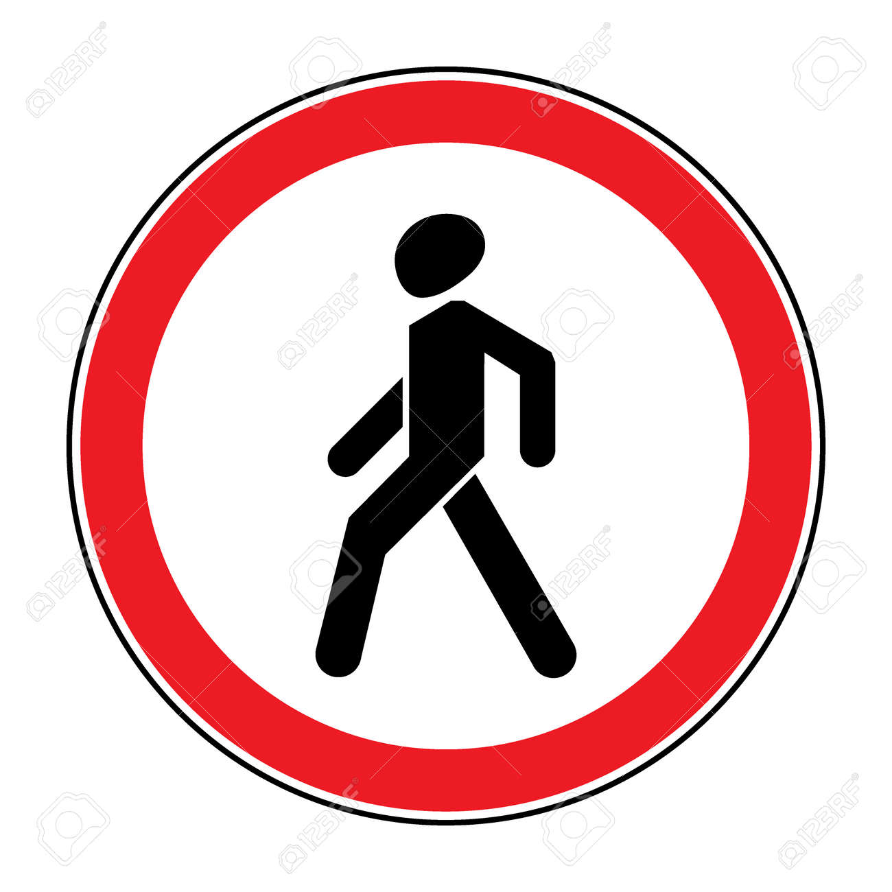prohibition no pedestrian sign no walking traffic sign no crossing rh 123rf com Cyclist Clip Art Seat Belt Clip Art