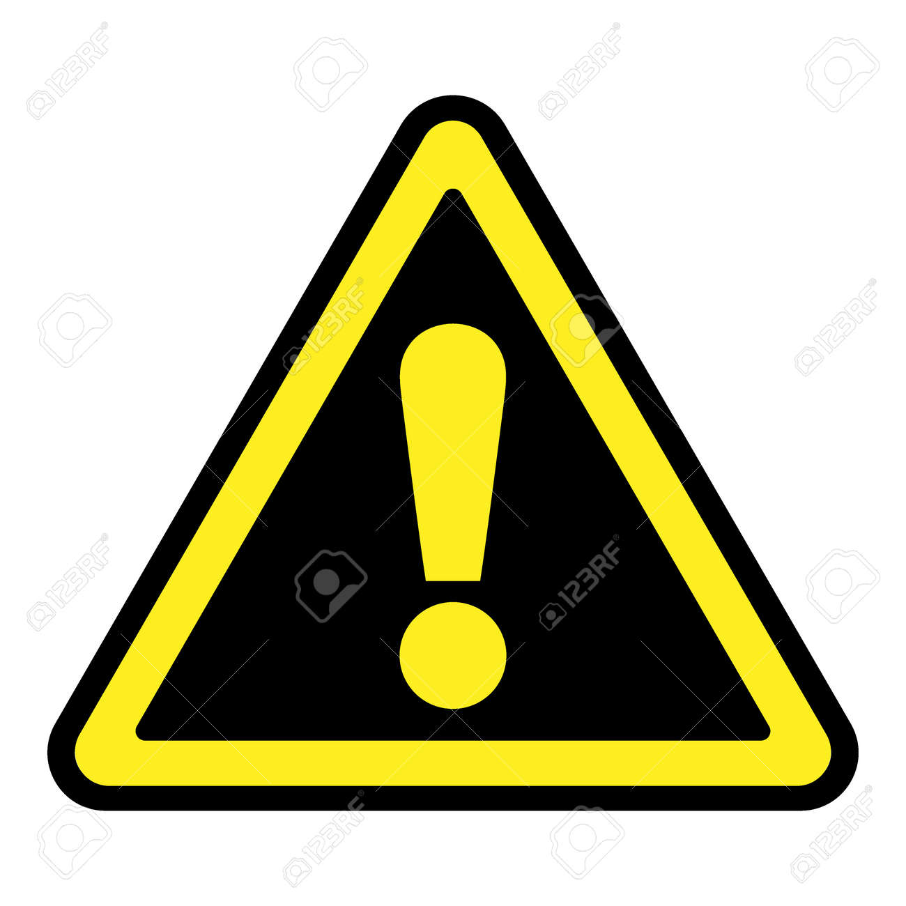 Hazard Warning Attention Sign Icon In A Black Triangle With Yellow