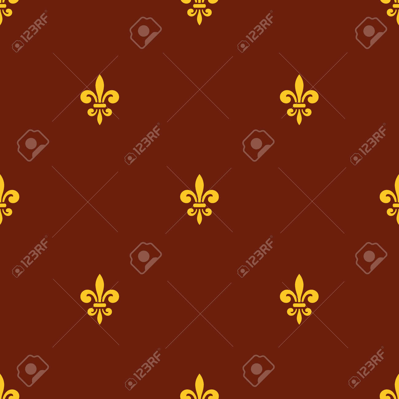 Seamless Pattern With Gold Fleur De Lis On Brown Background
