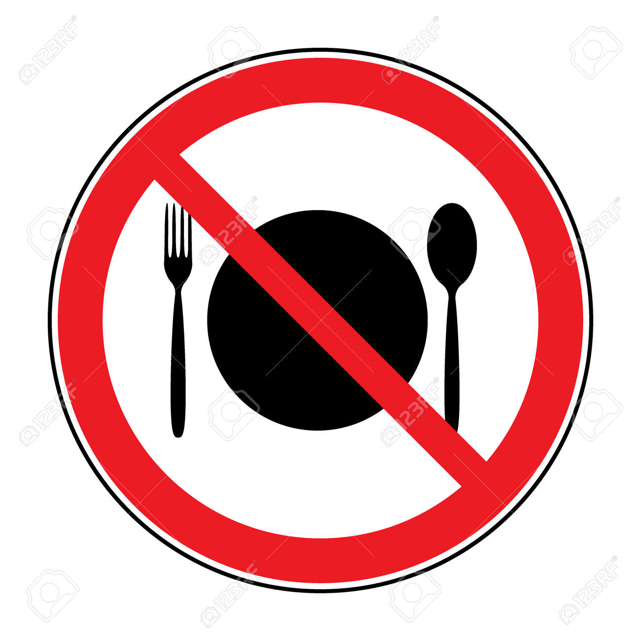 Do Not Eat Icon Cutlery Symbol Knife And Fork No Food Symbol